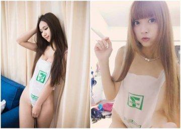 女生穿塑料袋泳