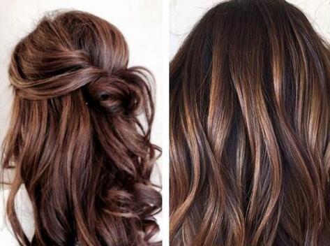如果你觉得冷调棕色有点沉闷,也可以给头发做点浅色的挑染,让发图片