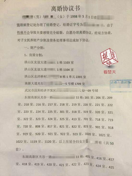 """武汉曝光""""土豪""""离婚协议书 仅房屋就涉及63套令人乍舌图片"""