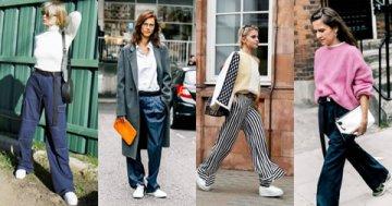 阔腿裤+运动鞋 穿出街拍达人感觉