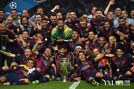 欧冠决赛巴塞罗那队再夺三冠王图片
